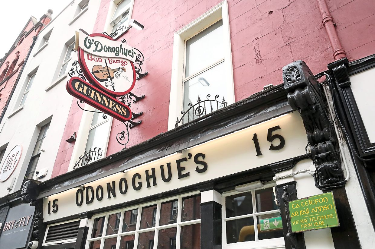 General view of O'Donoghue's bar in Dublin.