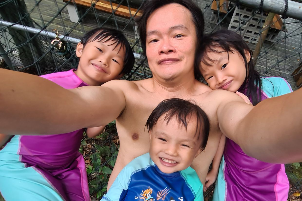 An adventurous moment for Chung and his three children at Gibbon Retreat in Bentong Pahang during the recovery MCO in 2020. Photo: Linus Chung