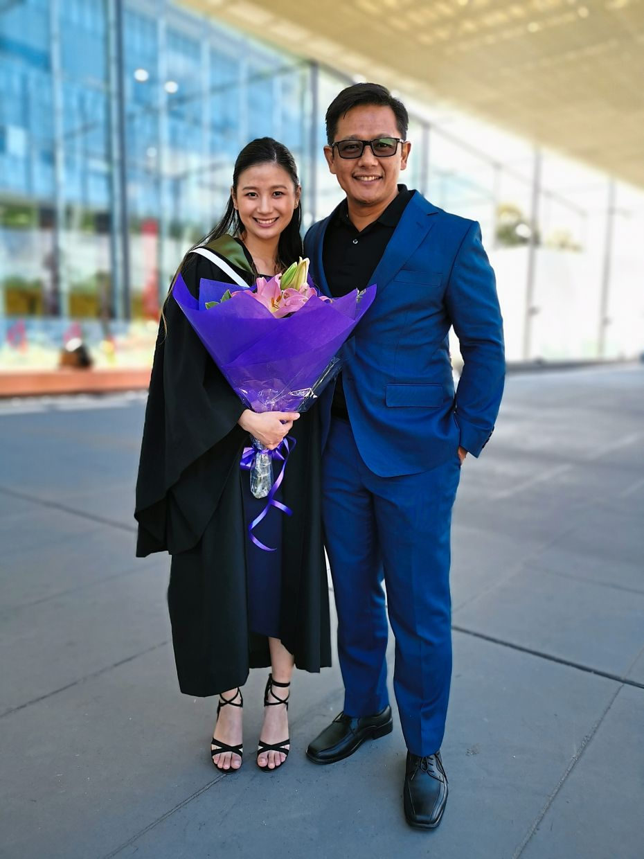 Proud father moment: Sharizan with his eldest daughter Kayra at her graduation in Melbourne, Australia, in 2019. Photo: Sharizan Borhan