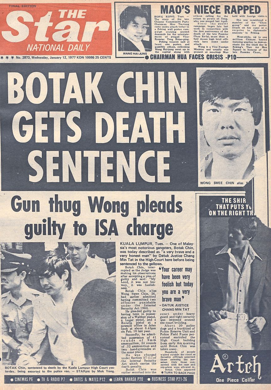 Notorious gangster: The front page cover of 'The Star' on Jan 12, 1977, a day after Botak Chin was sentenced to death by the High Court.