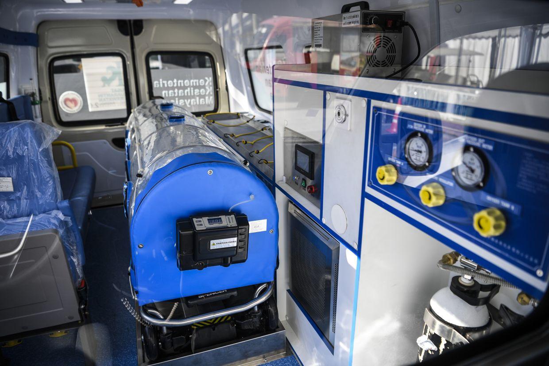 The interior of a negative pressure ambulance.