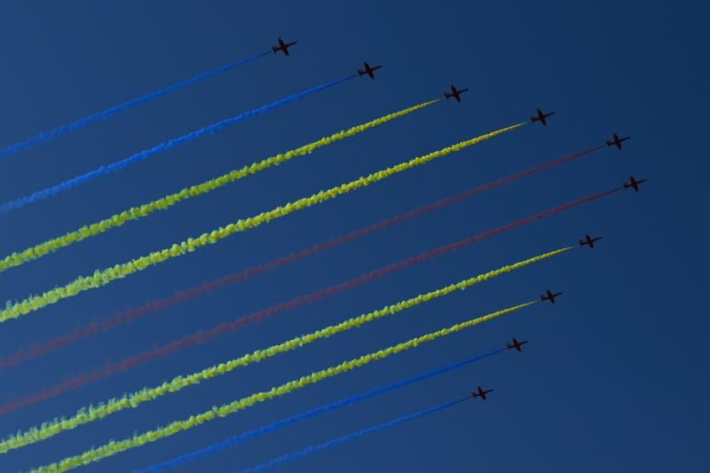Chinese JL-8 aircraft of the Red Falcon air demonstration team fly in formation in Beijing on June 19, 2021, during a rehearsal of an event marking the 100th anniversary of the founding of the Communist Party scheduled for July 1. - AFP