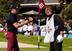 Golf-'Goosebumps' as Canadian Hughes sees maiden major title in reach