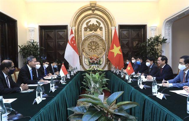 Singaporean and Vietnamese diplomatic delegation hold talks in Hanoi on Monday. - Vietnam News/ANN