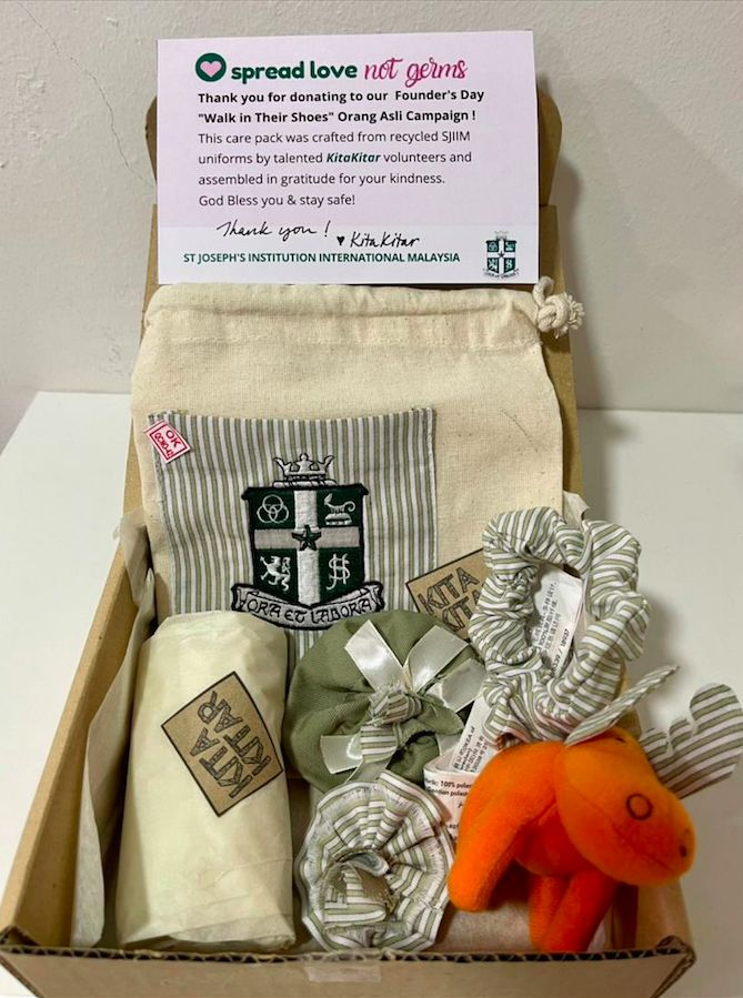Gift pack for large donors/sponsors comprising items sewn using materials from upcycled school uniforms. Photo: KitaKitar
