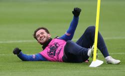 Soccer-England's Chilwell, Mount in isolation after contact with Gilmour