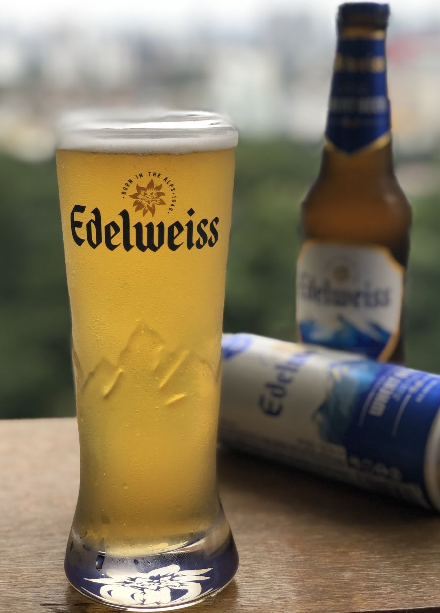 The recently launched Edelweiss wheat beer. — Photo: THE STAR/Michael Cheang