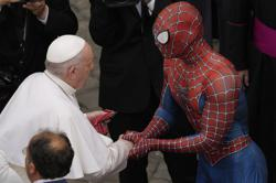 Far from home? Spider-Man drops in at the papal audience