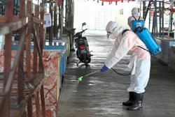 Sanitising exercise at markets and busy areas