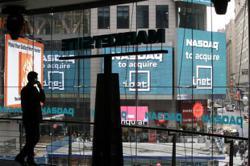 GLOBAL MARKETS-US stocks end mixed with Nasdaq at record close, dollar gains