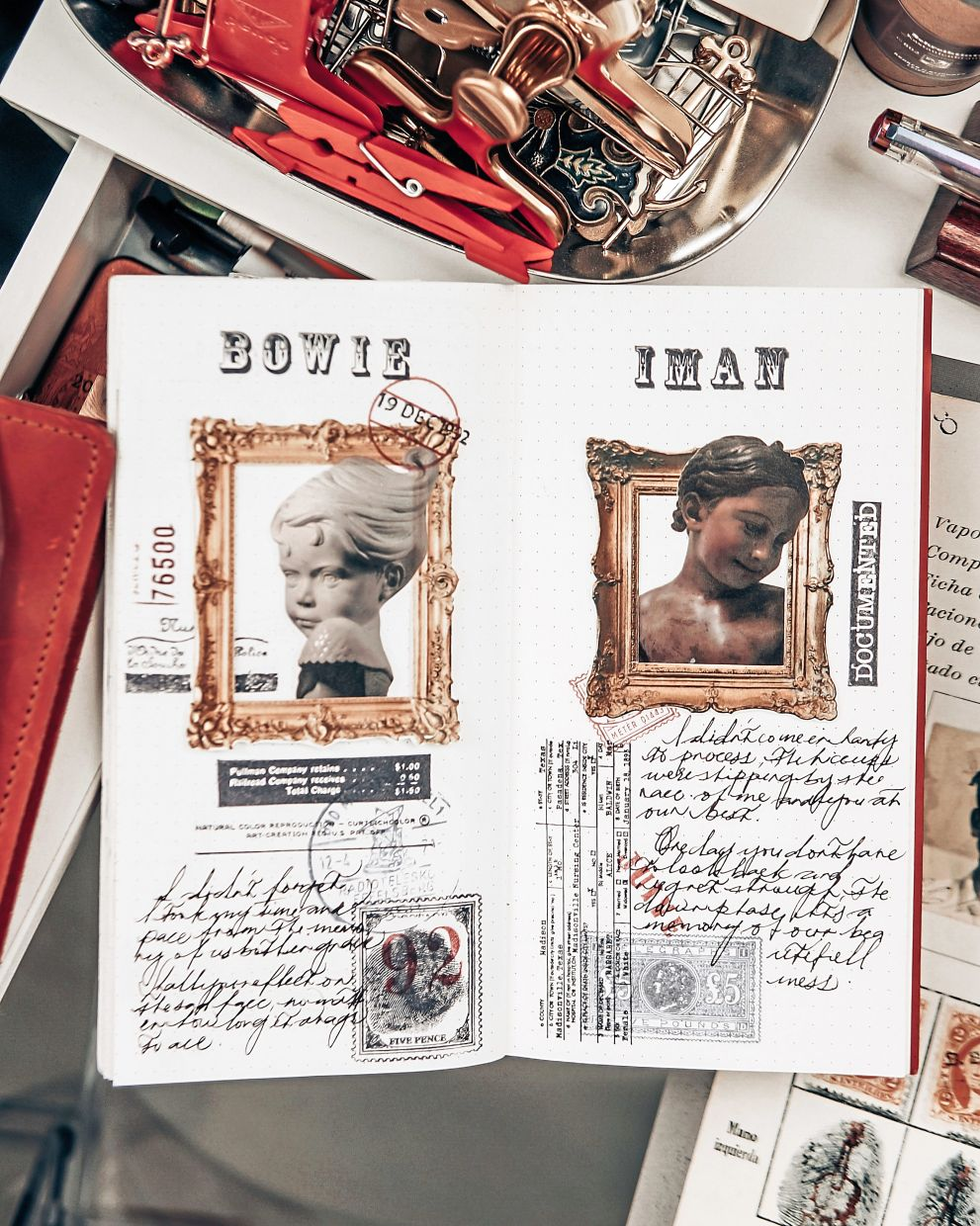 Khairul's collage journal, inspired by power couple singer David Bowie and supermodel Iman, and author Nick Bantock.