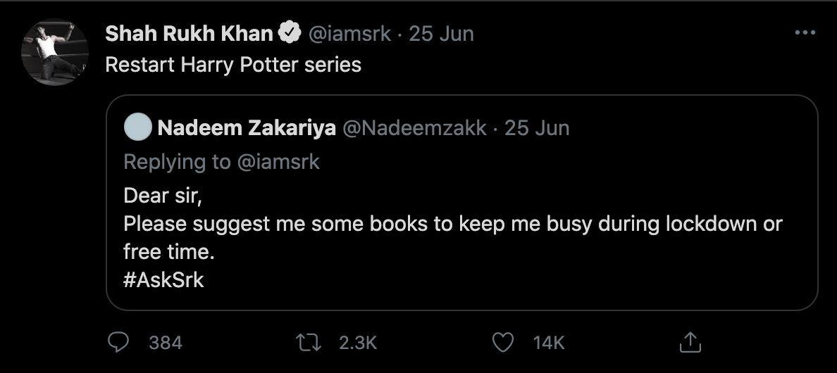 Potterheads, King Khan has spoken. Photo: Twitter