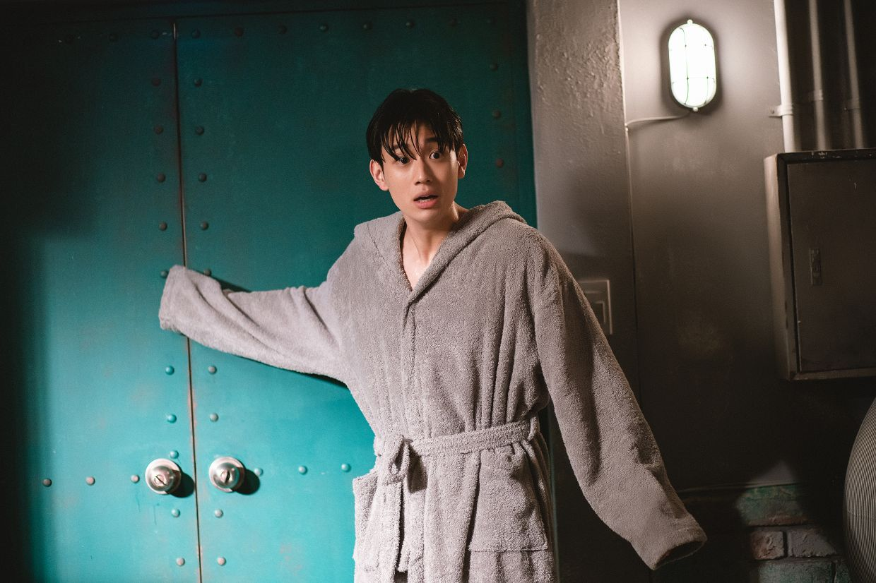 Newcomer Shin Hyeon-seung in a scene from the sitcom.