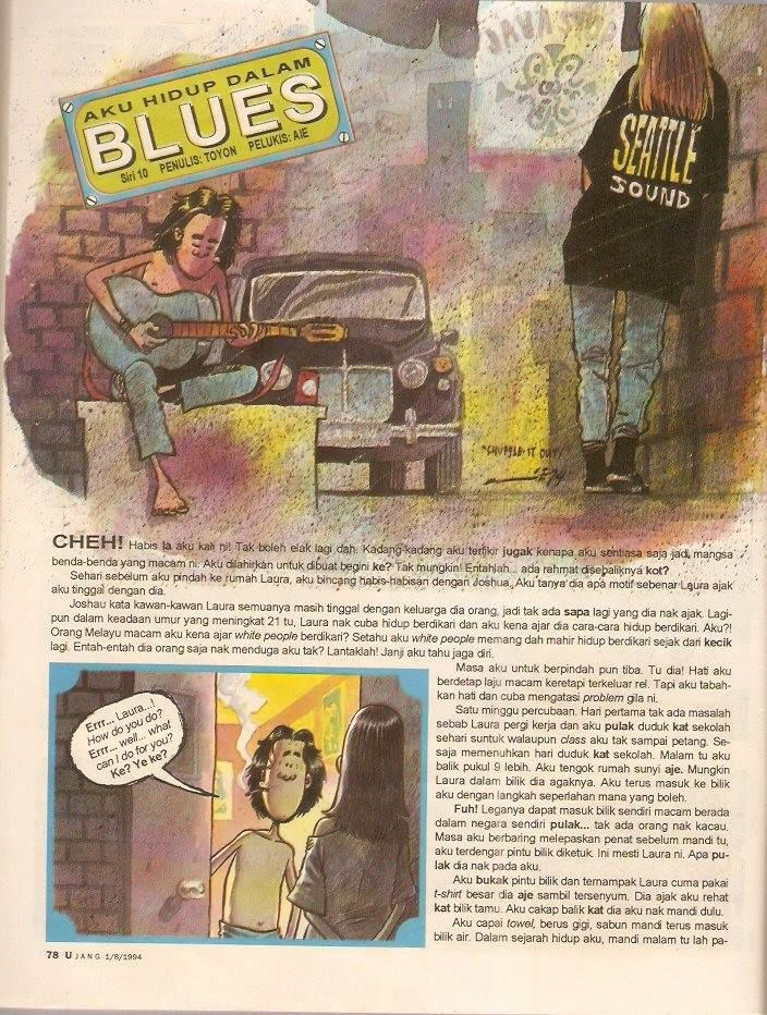 In many ways, the 'Aku Hidup Dalam Blues' series - written by Toyon and drawn by Aie - introduced 1990s grunge subculture to Bahasa Malaysia comics scene readers. Photo: Handout