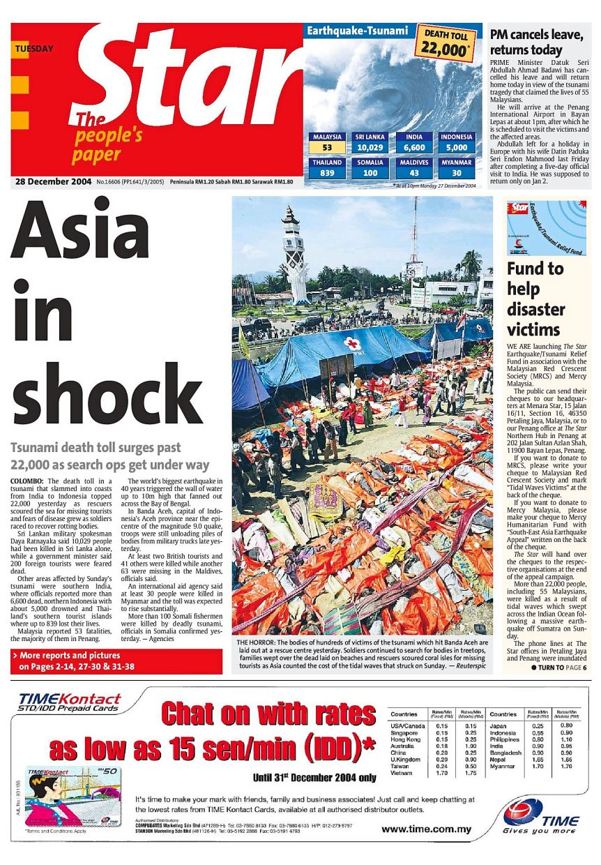 The Star Earthquake/Tsunami Relief Fund in 2004 totalled over RM27.3mil.