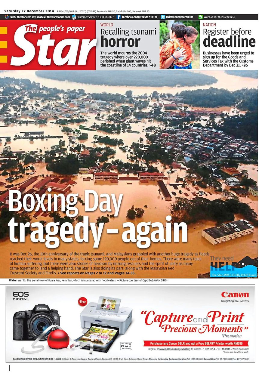 The Star responded to the 2014 floods in Malaysia by taking part in The Star-MRCS-Firefly Relief Fund.