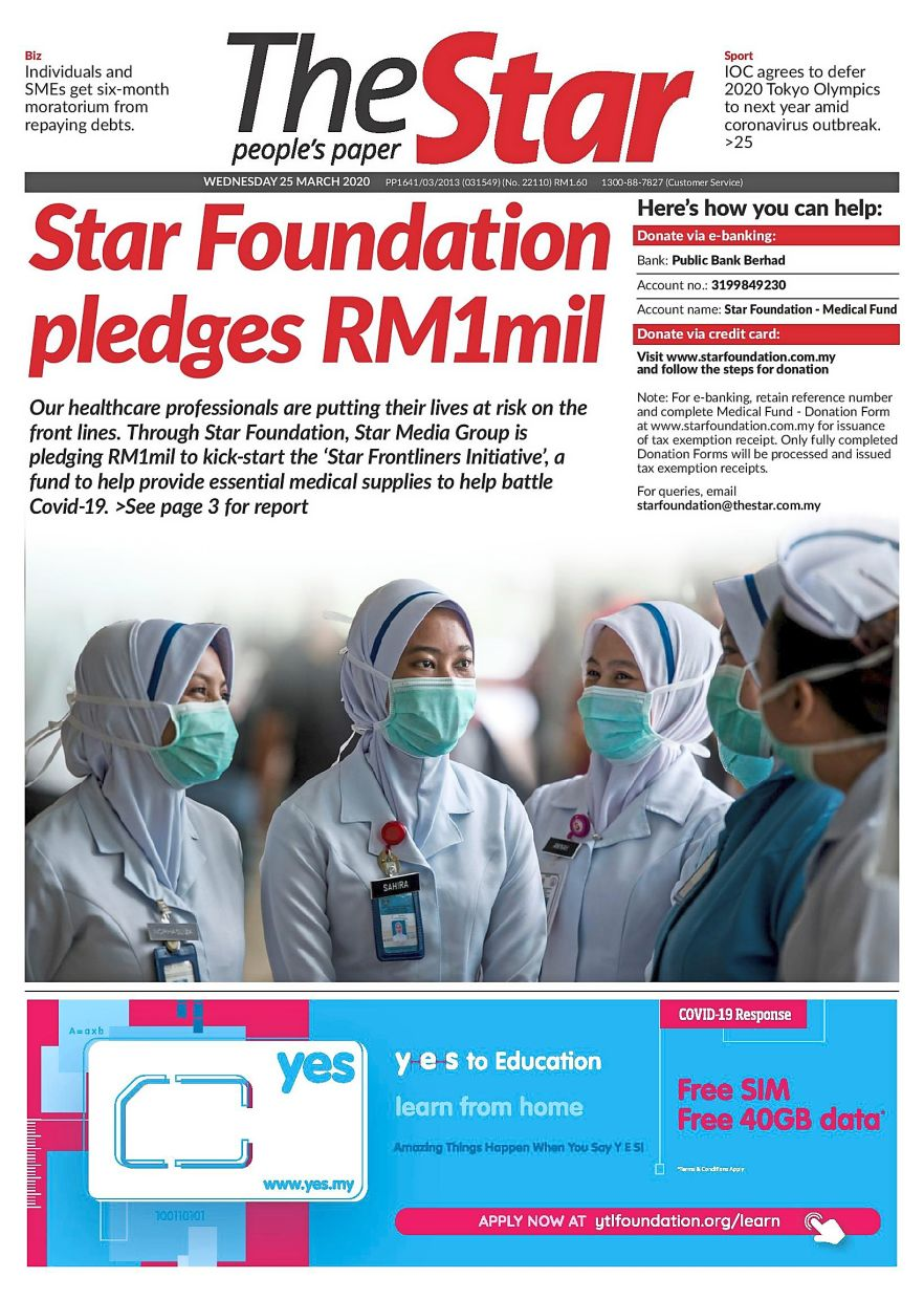 In support of Malaysia's dedicated frontliners in the ongoing battle against Covid-19, SMG and Star Foundation established the Star Frontliners Initiative in March 2020. To kickstart the initiative, Star Foundation contributed RM1mil to the fund.