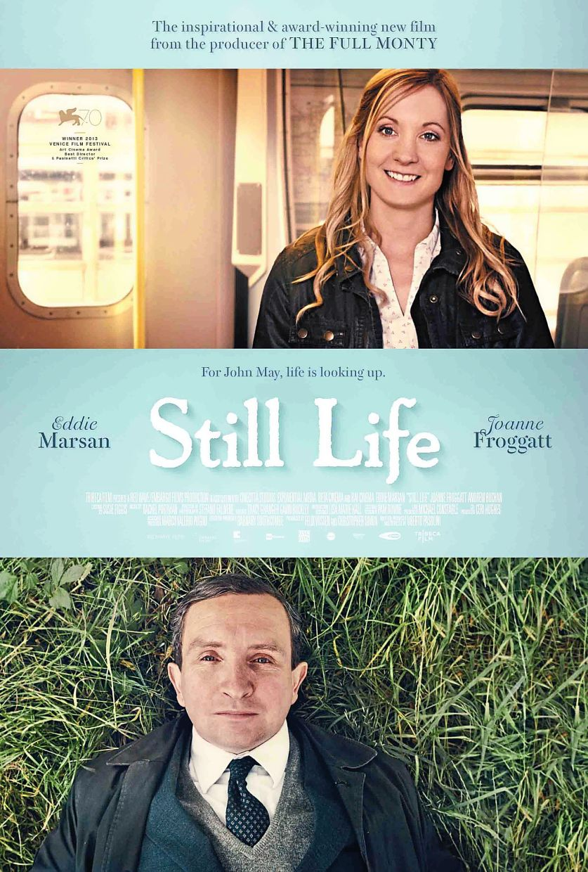 A poster of Still Life, a movie about a man who helps arrange for the funerals of strangers.
