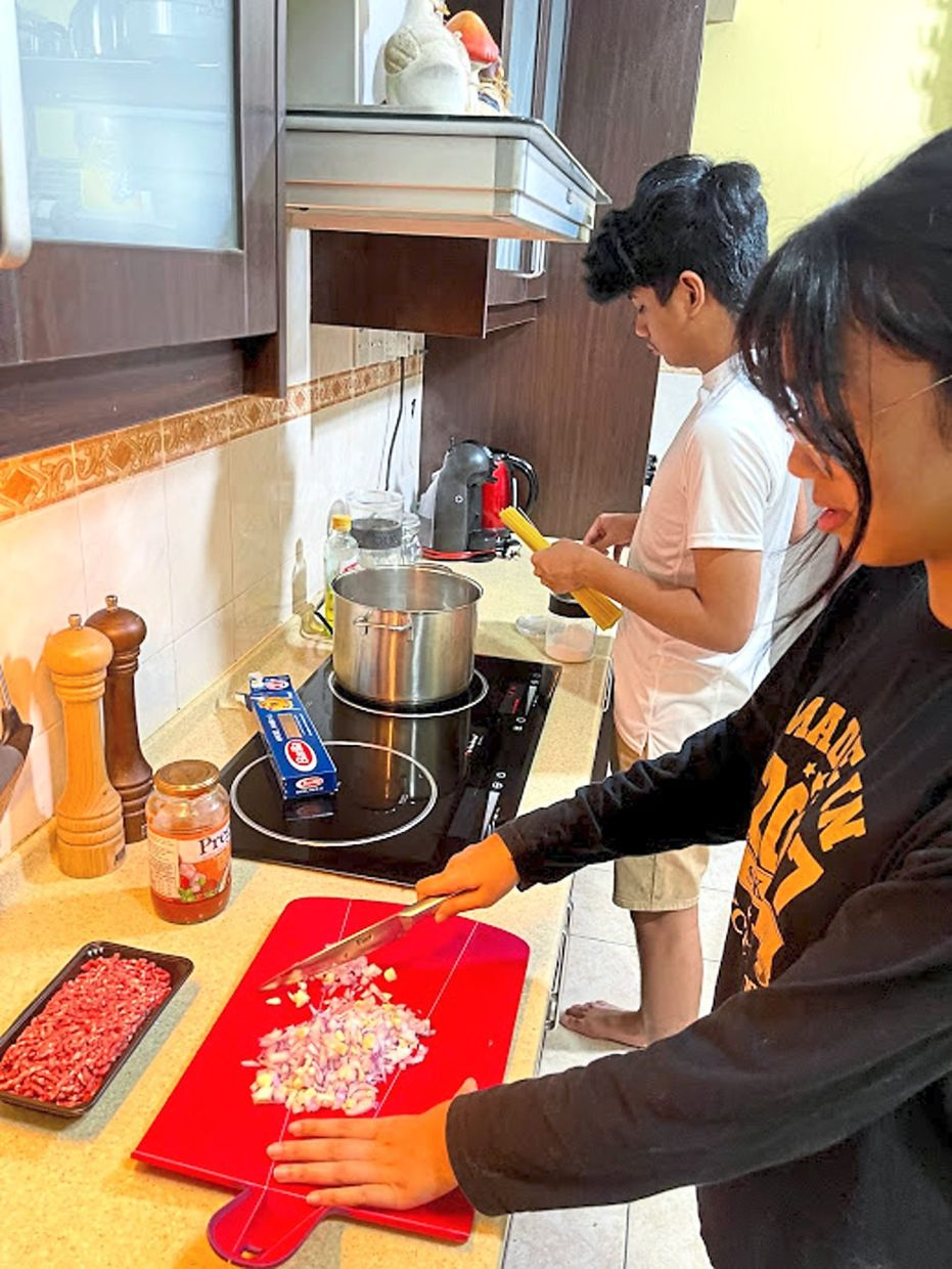 Abirah has charged her two teenagers Zahra and Nafis with preparing family meals together during the lockdown. — SYUIBAH ABIRAH MOHAMED TARMIZI