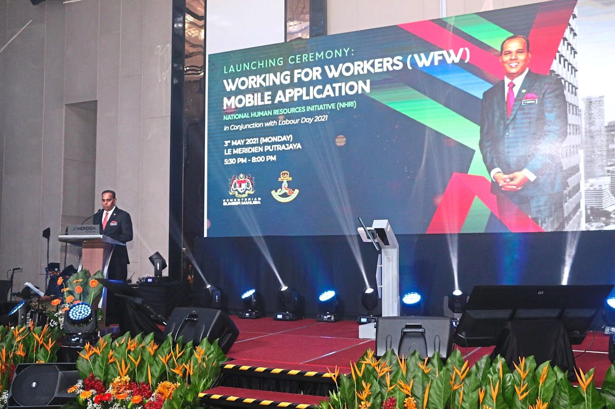 Human Resources Minister Datuk Seri M. Saravanan launched the WFW app in May. — Human Resources Ministry