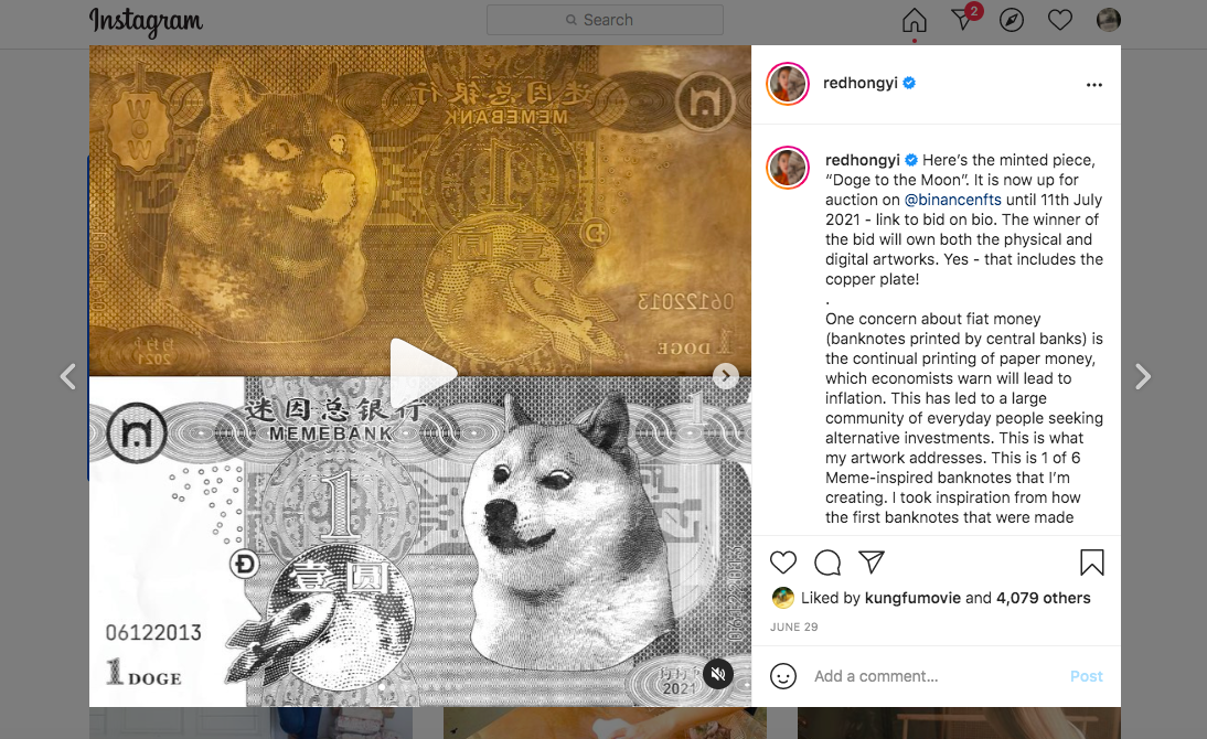 A screen shot of Red Hong Yi's 'Doge To The Moon' artwork. Photo: Instagram