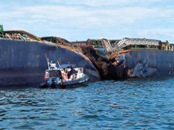 Steering system failure likely caused waterway collision