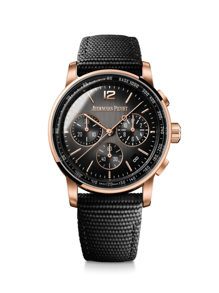 The new Code 11.59 by Audemars Piguet Selfwinding Chronograph in black ceramic and pink gold.