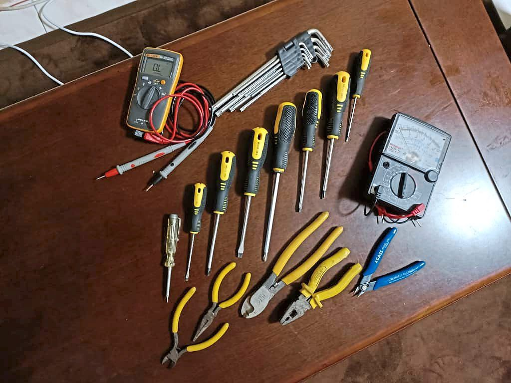Digital multimeters, pliers and screwdrivers with heads are among Rahimah's must-have tools.