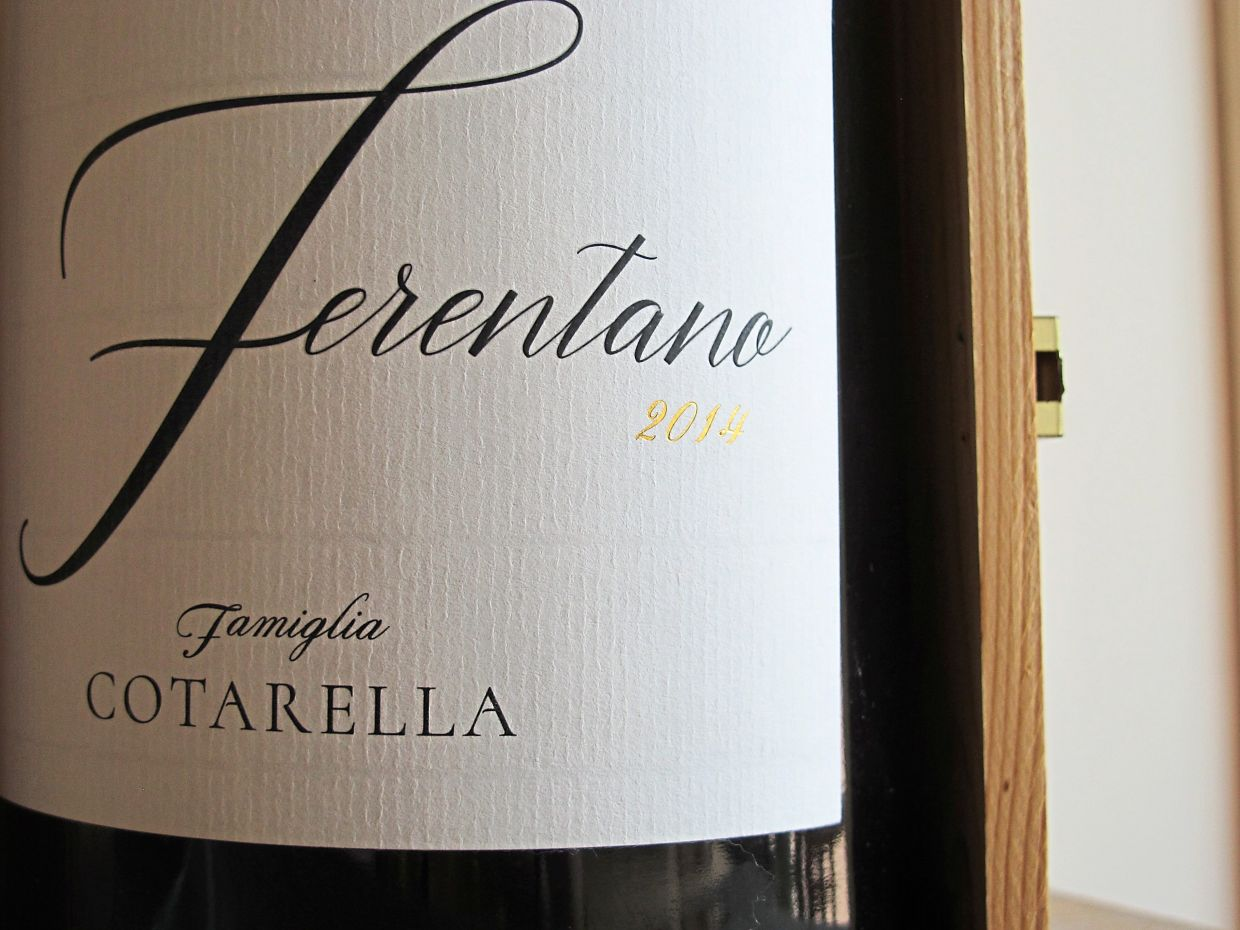The label on a bottle of wine from a 2014 Ferentano from the Cotarella family cellar.