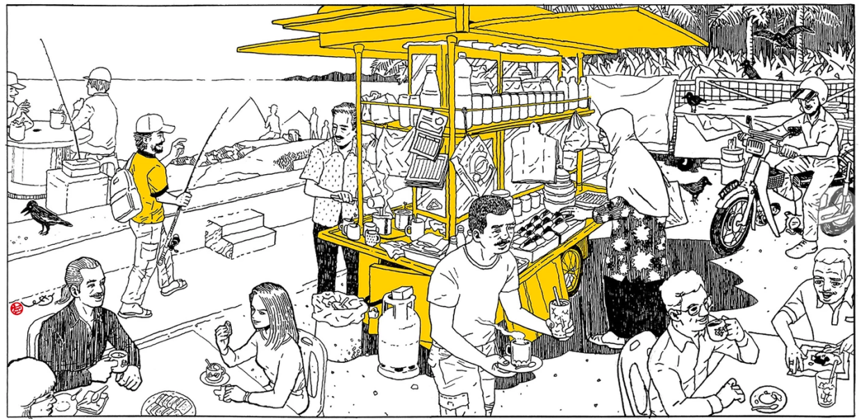 Lefty's 'Seaside Coffee Stall' (ink and tones on canvas). Photo: Lefty Kam