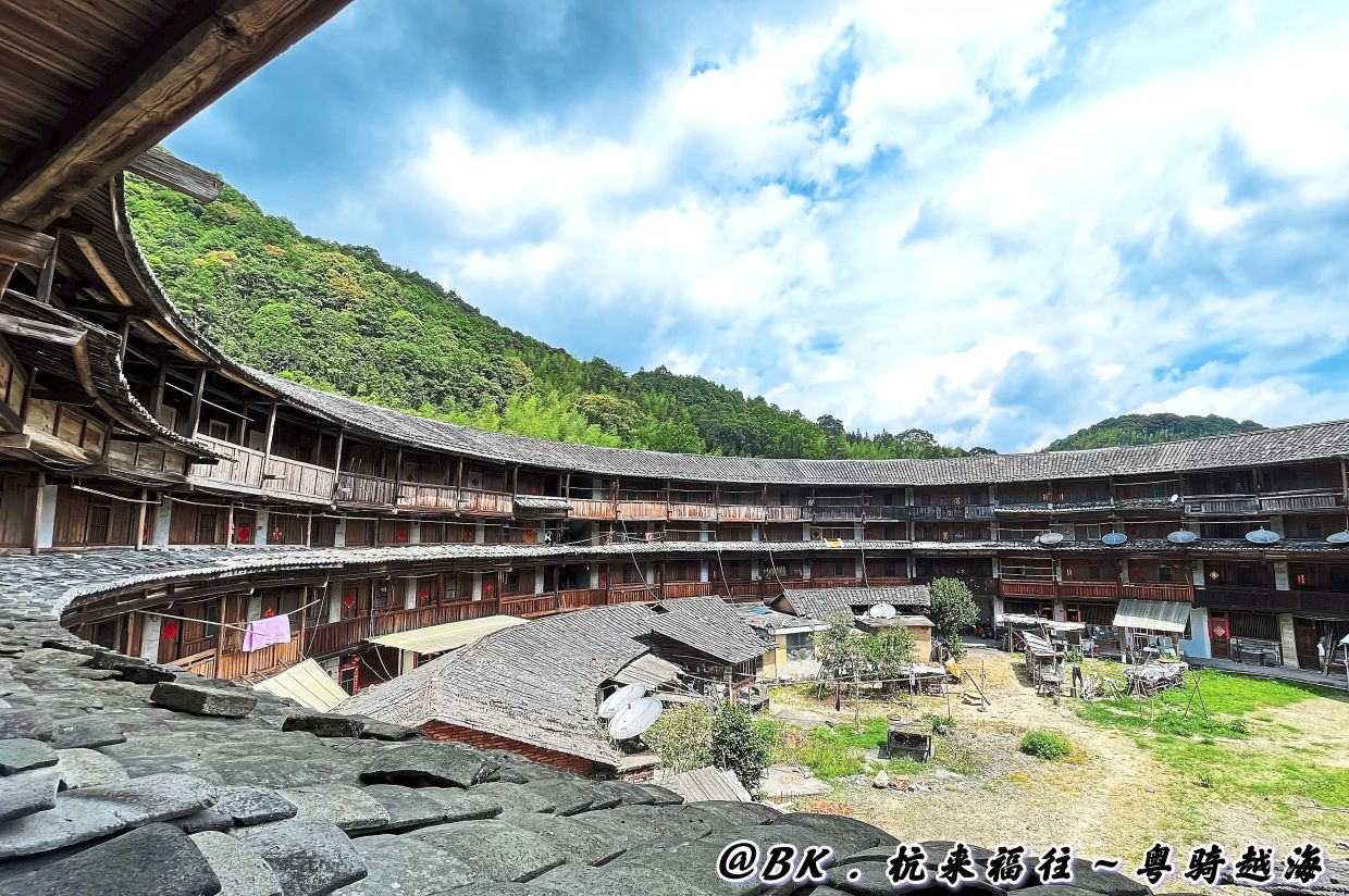 Inside a tulou, a traditional house in China.