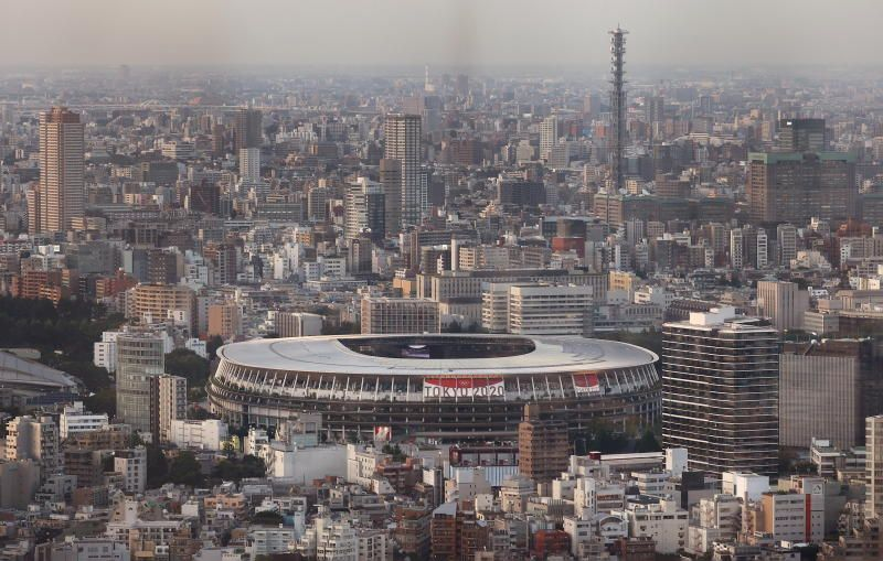 The National Stadium, the main venue of the Tokyo 2020 Olympic Games, is photographed from Shibuya Sky observation deck in Tokyo, Japan, on Monday, July 19, 2021. - Reuters