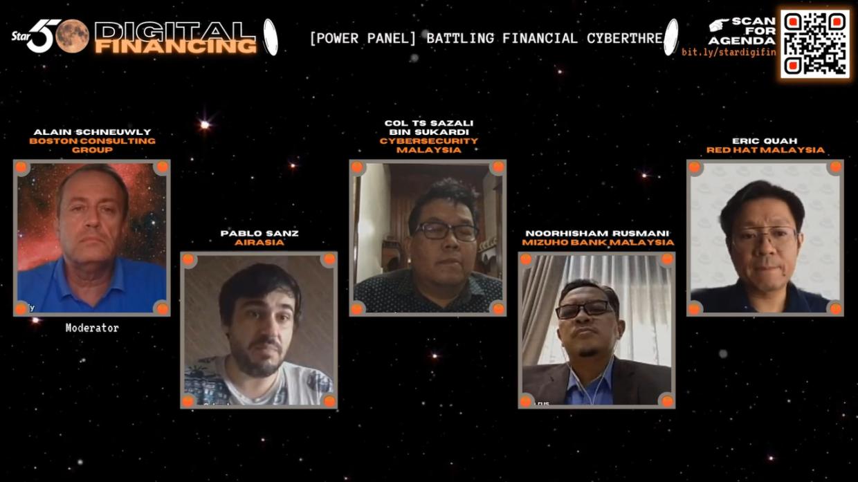 [Power Panel] Battling Financial Cyberthreat in the Age of Corona (from left): Alain Schneuwly, Pablo Sanz, Col Ts Sazali Bin Sukardi, Noorhisham Rusmani & Eric Quah