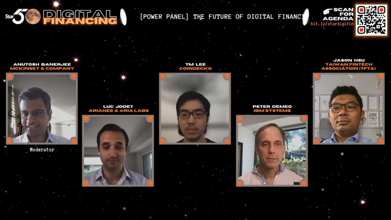 [Power Panel] The Future of Digital Financing: Enter DeFi (from left): Anutosh Banerjee, Luc Jodet, TM Lee, Peter DeMeo, Jason Hsu