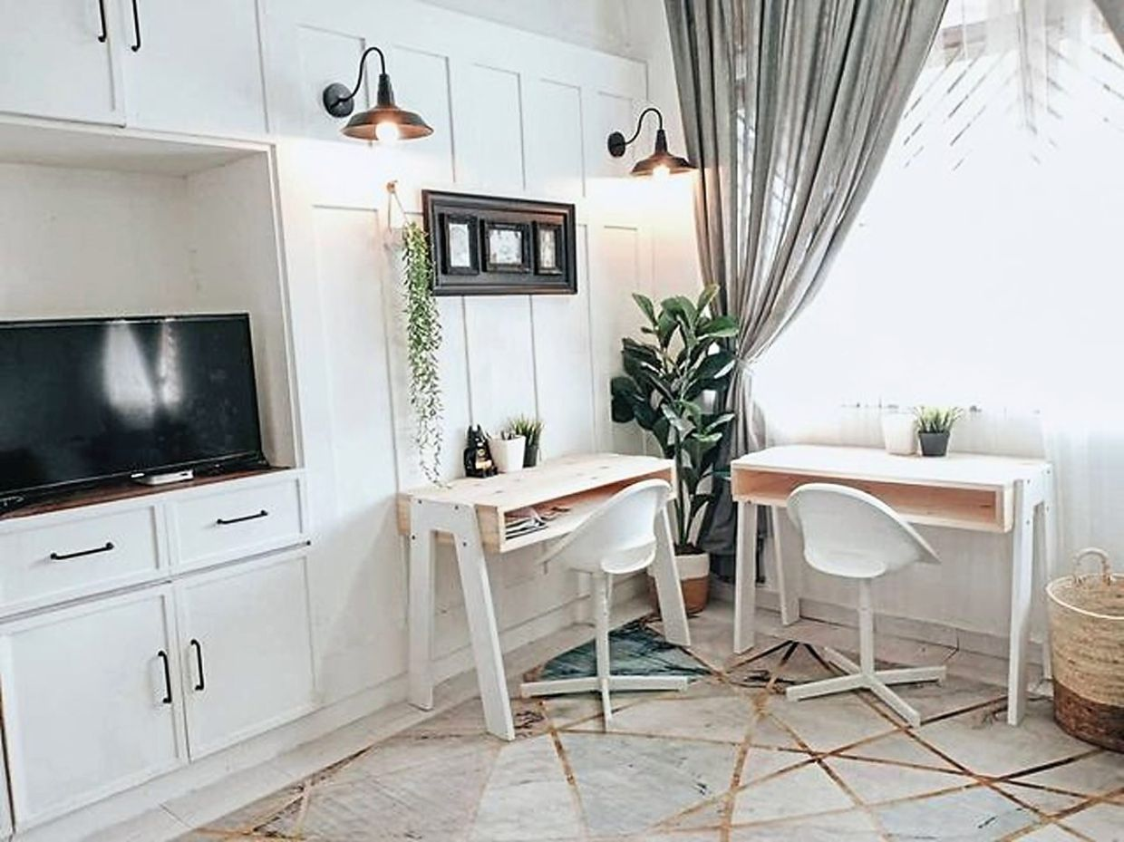 The kids' study tables were also part of the couple's DIY project.