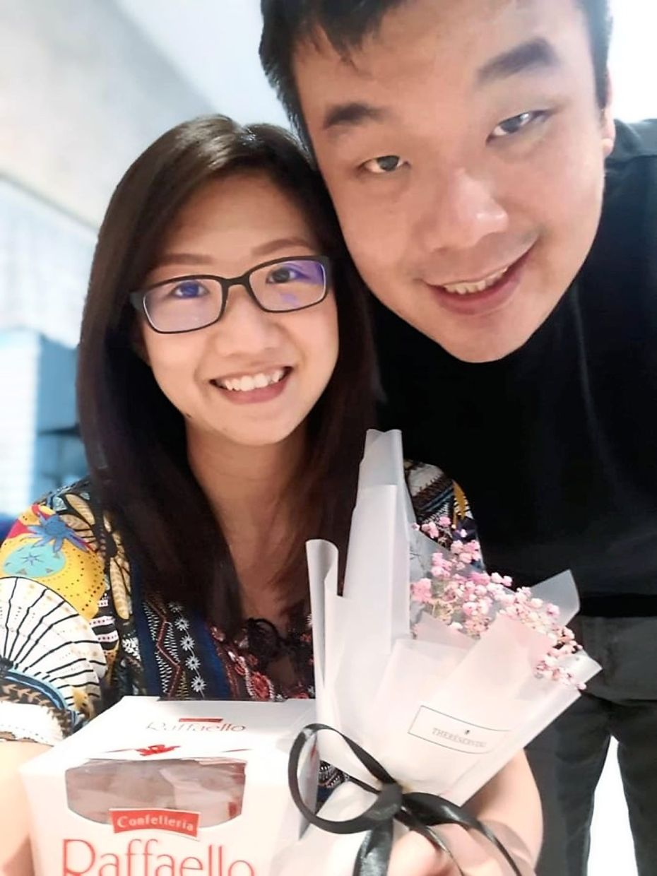 Cheong with her husband.