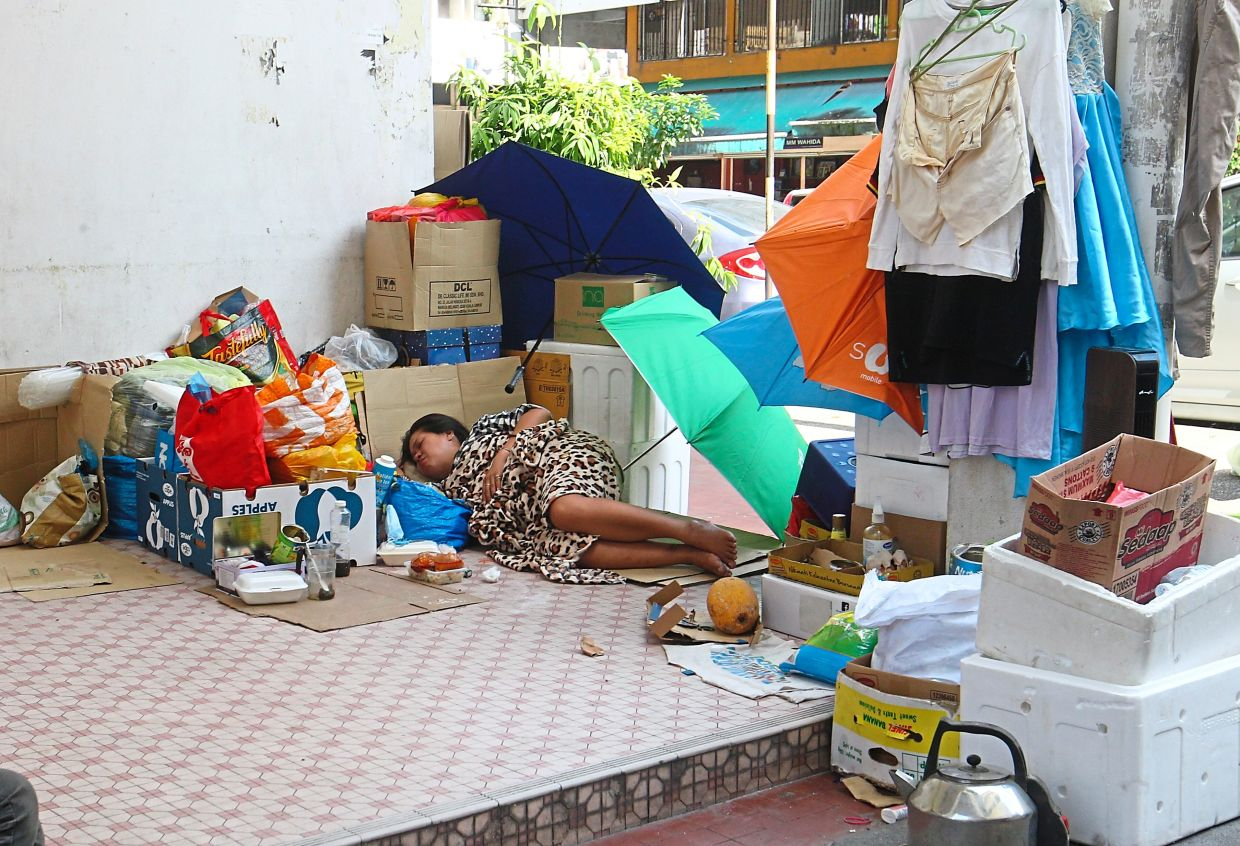 Homeless folk have fashioned a home for themselves at Kompleks Ruby in Jalan Kancil, Pudu.
