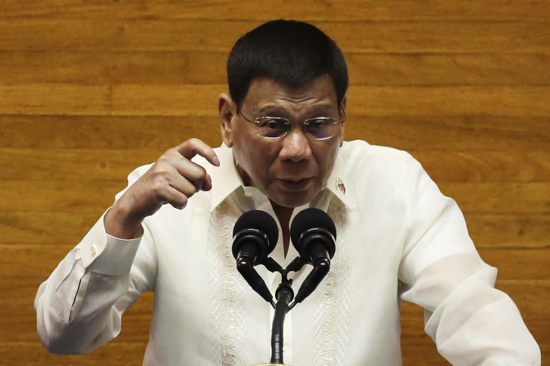 Philippine President Rodrigo Duterte gestures as he delivers his final State of the Nation Address at the House of Representatives in Quezon City, Philippines on Monday, July 26, 2021. Duterte delivered his final State of the Nation speech Monday before Congress, winding down his six-year term amid a raging pandemic, a battered economy and a legacy overshadowed by a bloody anti-drug crackdown that set off complaints of mass murder before the International Criminal Court. - AP