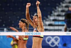 Olympics-Beach Volleyball-Ludwig shines as Germany beat Japan, Canada moves into last-16