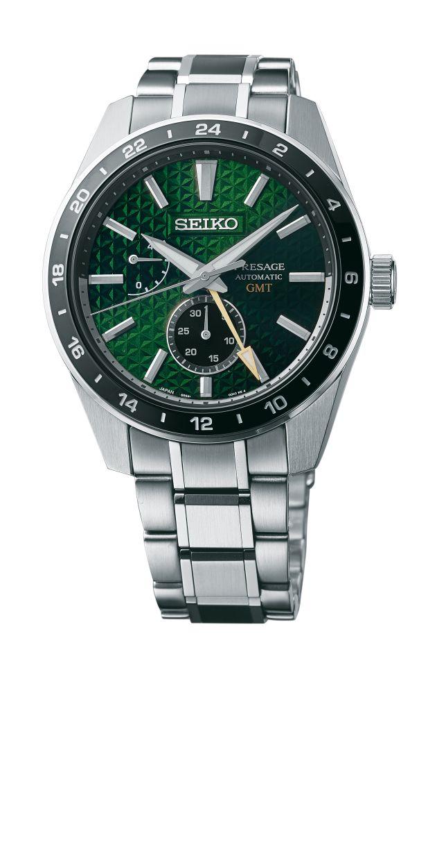Seiko Presage Sharp Edged GMT collection includes this version - Tokiwa (green, SPB219). — Seiko