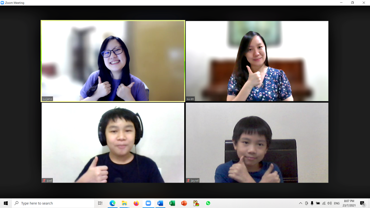 (Clockwise from bottom right) Jayrel and Joel discussed the video project with their aunt Su Jane, and mother Su En, on Zoom. Photo: Beh Su En.