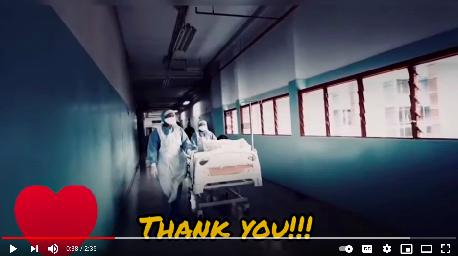 In their video, the boys thank frontliners for their dedication, sacrifice and hard work. Photo: YouTube/thundershock