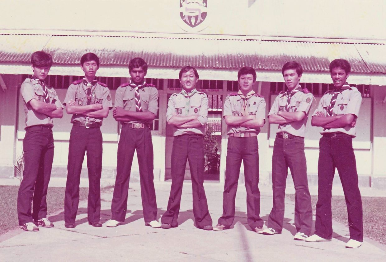 Tang Wang Nyap (centre) with his Form Six Rover Scouts at Bukit Mertajam High School in 1981. Photo: Liew Chiok San
