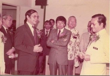 Dr Hussein (left) with Dr Mahathir and the then Raja Muda and now the Sultan of Selangor, Sultan Sharafuddin Idris Shah Al-Haj (centre), who graced the opening of Tawakkal Hospital in 1983.