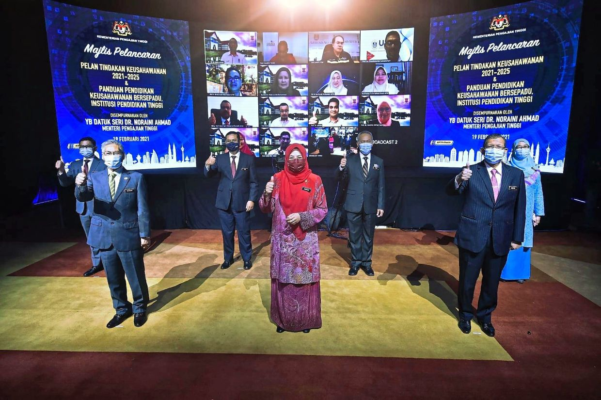 Higher Education Minister Datuk Seri Dr Noraini Ahmad at the launch of the IPT Entrepreneurship Action Plan 2021-2025 and Guide to Entrepreneurship Integrated Education (EIE) in February 2021.