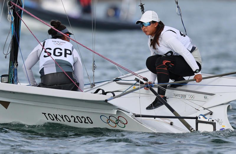 Kimberly Lim and Cecilia Low of Singapore in action during the Women's 49er FX sailing event at the Tokyo 2020 Olympic Games. - Reuters
