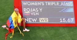 Olympics-Athletics-Venezuela's Rojas smashes women's triple jump world record to take gold