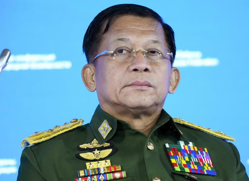 In this June 23, 2021, file photo, Commander-in-Chief of Myanmar's armed forces, Senior General Min Aung Hlaing delivers his speech at the IX Moscow conference on international security in Moscow, Russia. Six months after seizing power from the elected government, Myanmar's military leader on Sunday, Aug 1, 2021, repeated his pledge to hold fresh elections in two years and cooperate with Southeast Asian nations on finding a political solution for his country. - AP