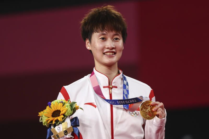 Gold medallist Chen Yufei of China posing with her medal after winning the badminton women's singles title at the Musashino Forest Sport Plaza at the Tokyo 2020 Olympics on Sunday (Aug 1, 2021). - Reuters