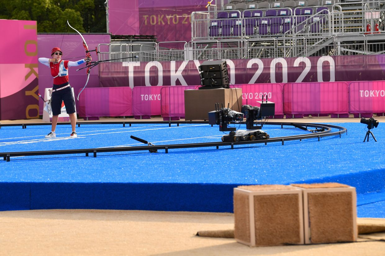 Cameras positioned 12 metres before the archery shooting line that live track the heart beats per minute of over 100 consenting archers are seen at the Yumenoshima Archery Field, during the Tokyo 2020 Olympic Games, Japan, on July 29, 2021. — Reuters